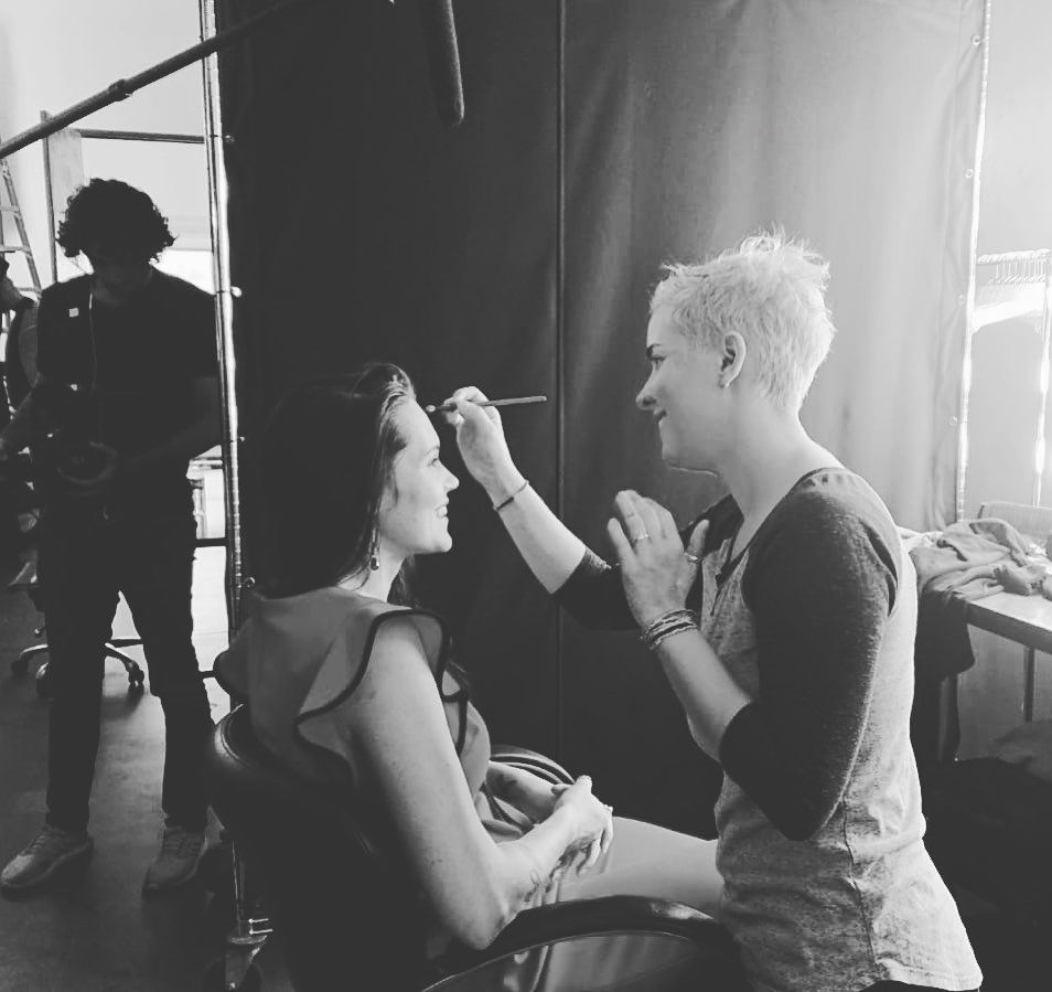 Teal Swan with a makeup artist in NYC